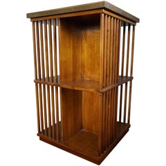 Vintage French Campaign Style Cherrywood Revolving Bookcase with Brass Lining