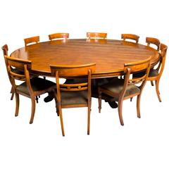 Vintage Dining Set Pollard Oak Table and Ten Chairs, 20th Century