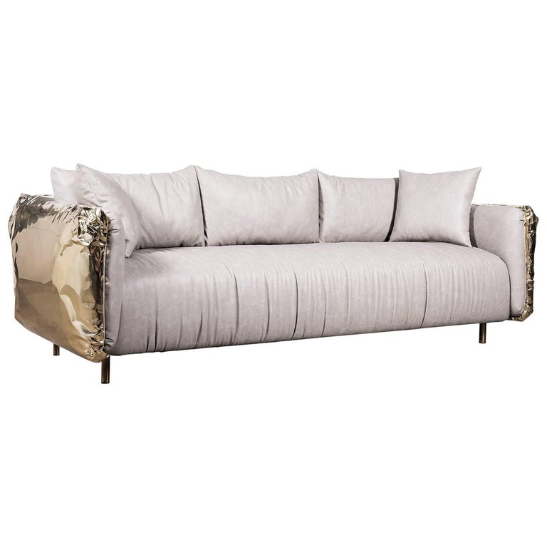 Gold Safe Sofa with Hammered Polished Brass For Sale