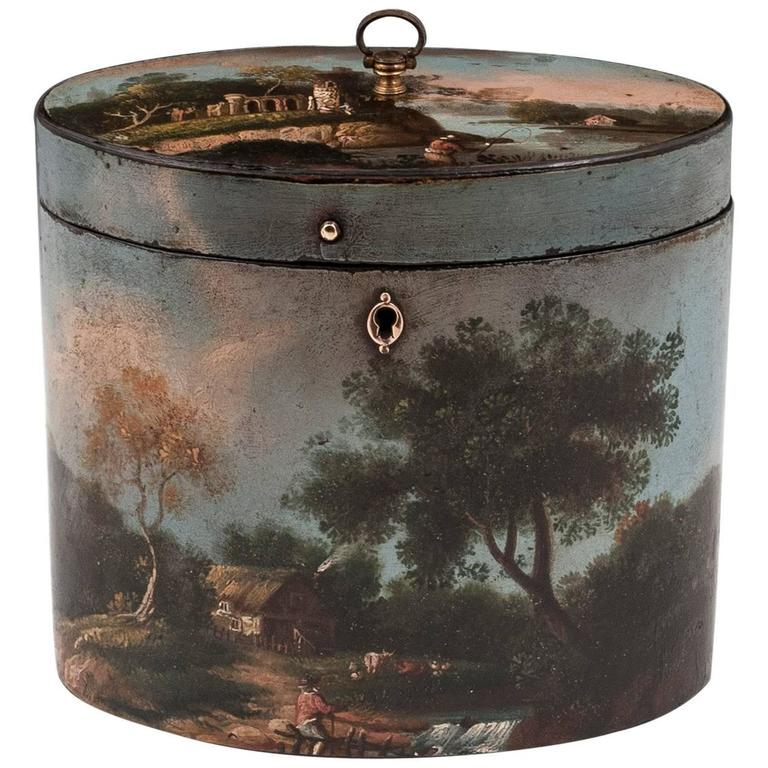 Henry Clay Papier Mache Painted Oval Tea Caddy For Sale