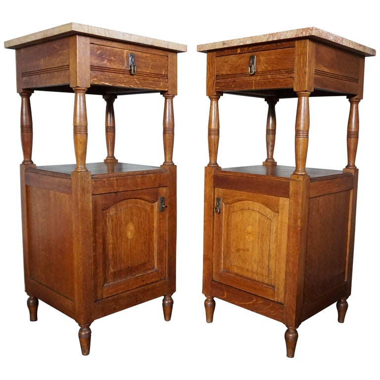Antique, Tall and Inlaid Solid Oak Bedside Cabinets with Marble Tops, A Bargain