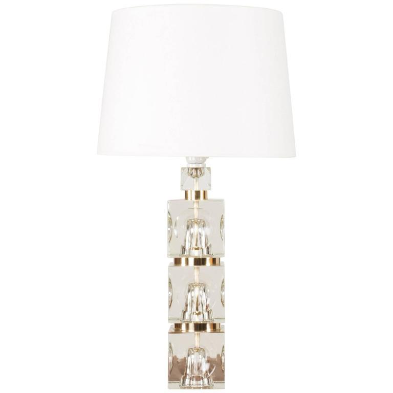 Swedish 1960s Crystal Table Lamp