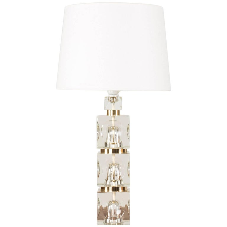 Swedish 1960s Crystal Table Lamp For Sale
