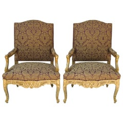 Pair of Great French Regence Style Armchairs