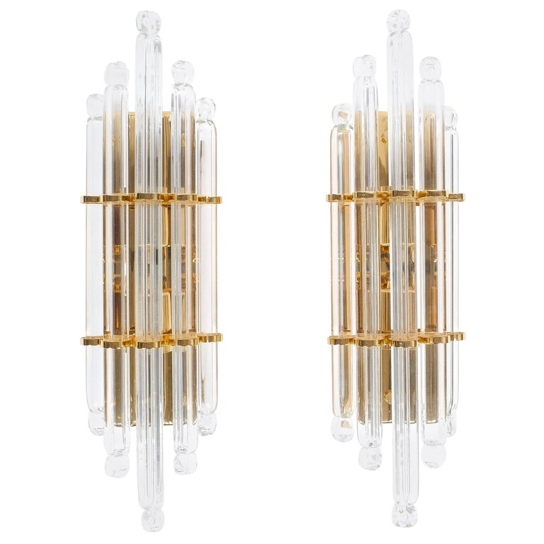 Large Venini Style Murano Glass and Brass Wall Lamps Sconces, 1970 For Sale at 1stdibs