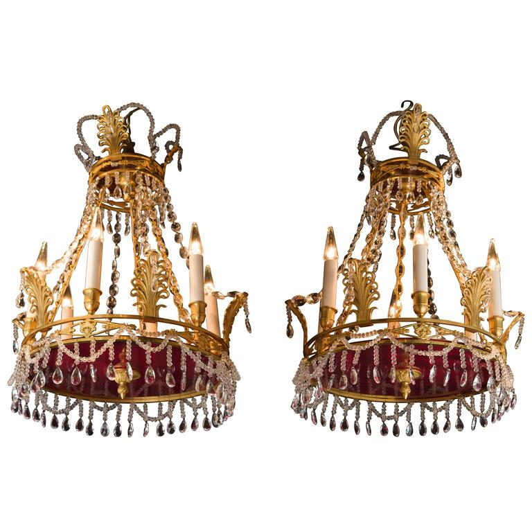Pair of small empire style swedish chandeliers with six lights and pair of small empire style swedish chandeliers with six lights and colored glass 1 mozeypictures Choice Image