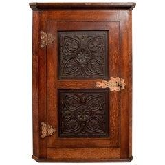 Oak Carved Corner Cabinet Cupboard Arts & Crafts Copper Hinging, circa 1900