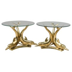 Pair of Gilt Brass Dolphin Side Tables, 1970