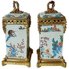 Pair of Japanese Kakiemon Vases, circa 1710 with French Gilt Bronze Mounts