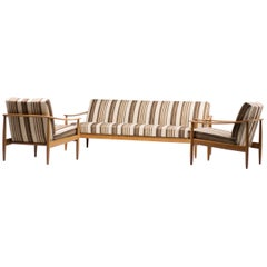 Scandinavian Mid-Century Modern Living Room Suite with Folding Sofa