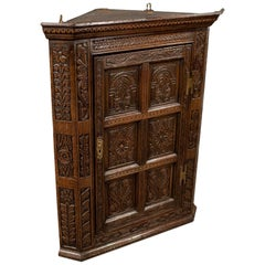Oak Carved Corner Cabinet Wall Cupboard English Victorian Revival, circa 1880