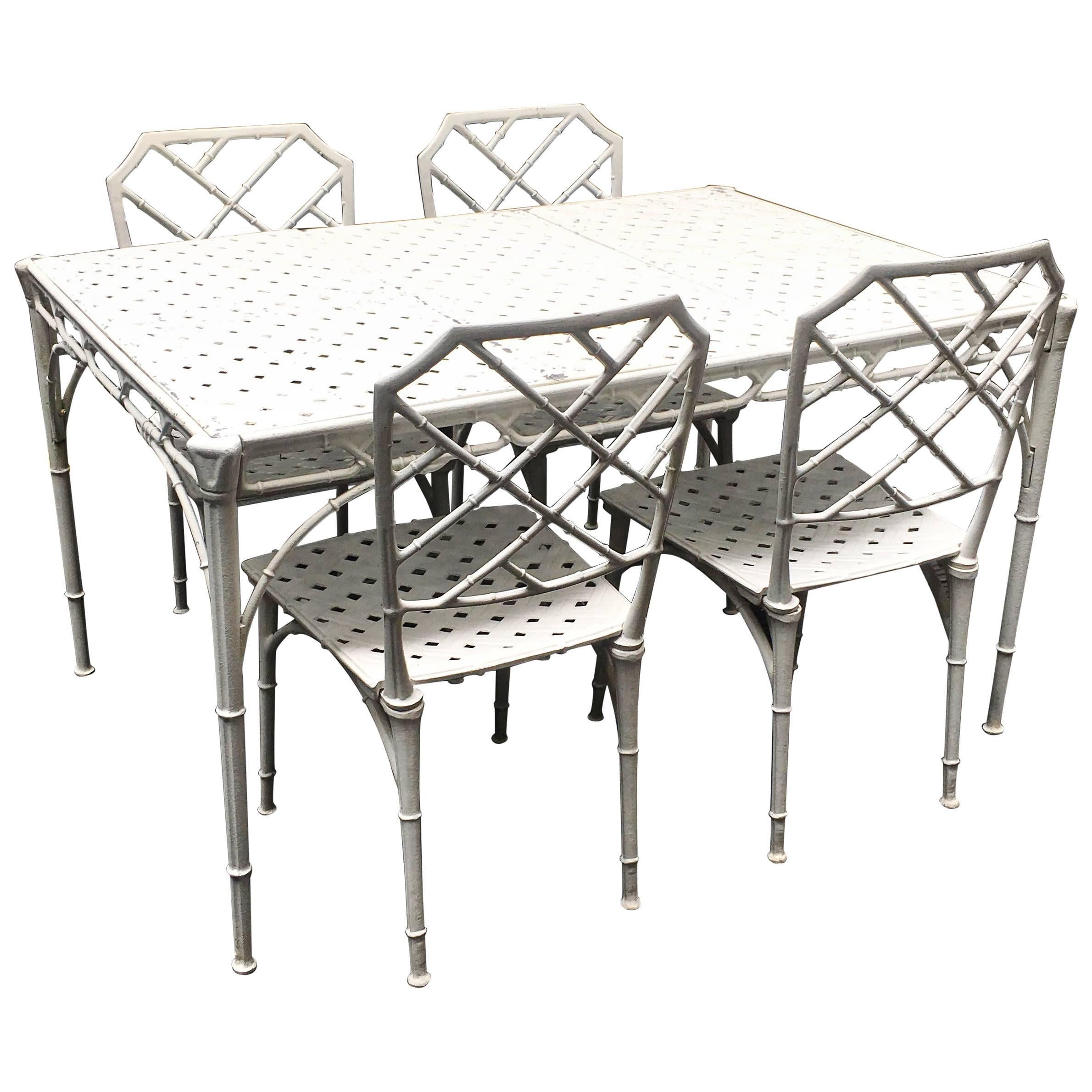 Faux Bamboo Patio Table And Chairs, 1960s 1
