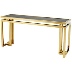Angles Console Table Gold Finish with Black Glass