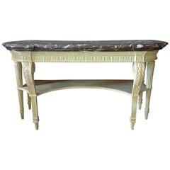 French Louis XVI Period Carved & Painted Wood Console Table, Attributed G. Jacob