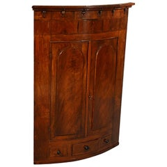 Bow Corner Cupboard Quality English Display Cabinet Fine Mahogany, circa 1830