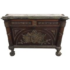 Original Bronze Antique French Inlaid Buffet Sideboard