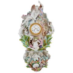 Meissen Style Antique Cartel Clock with Rococo Style Depictions of Mythology