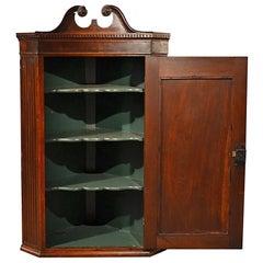 Antique Corner Cupboard Mahogany Swan Neck English Georgian Cabinet, circa1800