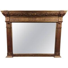 Antique Georgian Carved Wood Gilt Gold Mantle Mirror