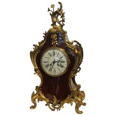 19th Century French Clock in Faux Tortoiseshell and Ormolu