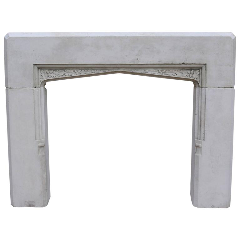 Carved Antique English Limestone Fire Surround