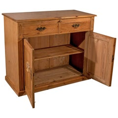Antique French Pine Cabinet Cupboard, with Desk Slide, circa 1900