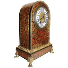 19th Century French Boulle Clock with Brass Inlay
