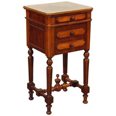 Antique Small Cabinet Side Table Bedside Cupboard French Walnut, circa 1900