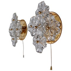 Gold Metal Floral Wall Sconce with Large Crystal Flowers, Germany, 1980s