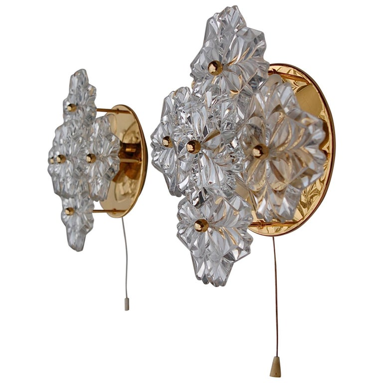 Floral Metal Wall Sconces : Gold Metal Floral Wall Sconce with Large Crystal Flowers, Germany, 1980s For Sale at 1stdibs