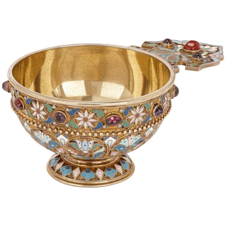 Russian Jewelled, Silver Gilt and Cloisonné Enamel Antique Charka by Ovchinnikov For Sale