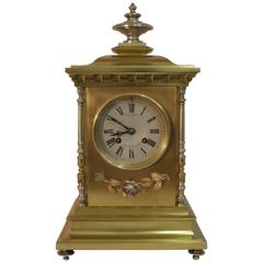 French 19th Century Brass and Gilt Mantel Clock