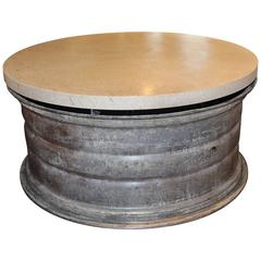 Large French Cast Iron Industrial Hub as Coffee Table with Limestone