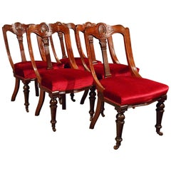Antique Dining Chairs Set of Five Quality Mahogany Victorian Aesthetic Period