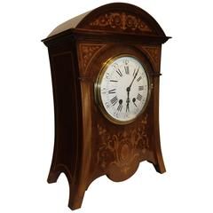 Late 19th Century Inlaid Mahogany Cased Mantel Clock