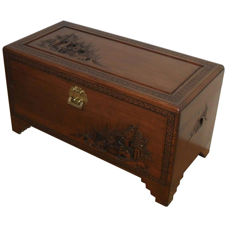 Oriental carved camphor wood chest at 1stdibs for Oriental wood carved furniture