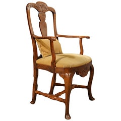 Antique Oak, Ash & Elm Study Desk Elbow Chair Large Wide Armchair, circa 1800