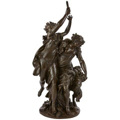 Patinated Bronze Antique French Bacchanalia Sculptural Group after Clodion