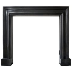 Marmorea English  Style Black Marble Bolection Fireplace Mantle