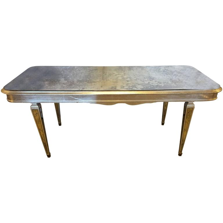 Antique Mirrored Hollywood Regency Decorative Dining Room Table For Sale - Antique Mirrored Hollywood Regency Decorative Dining Room Table For