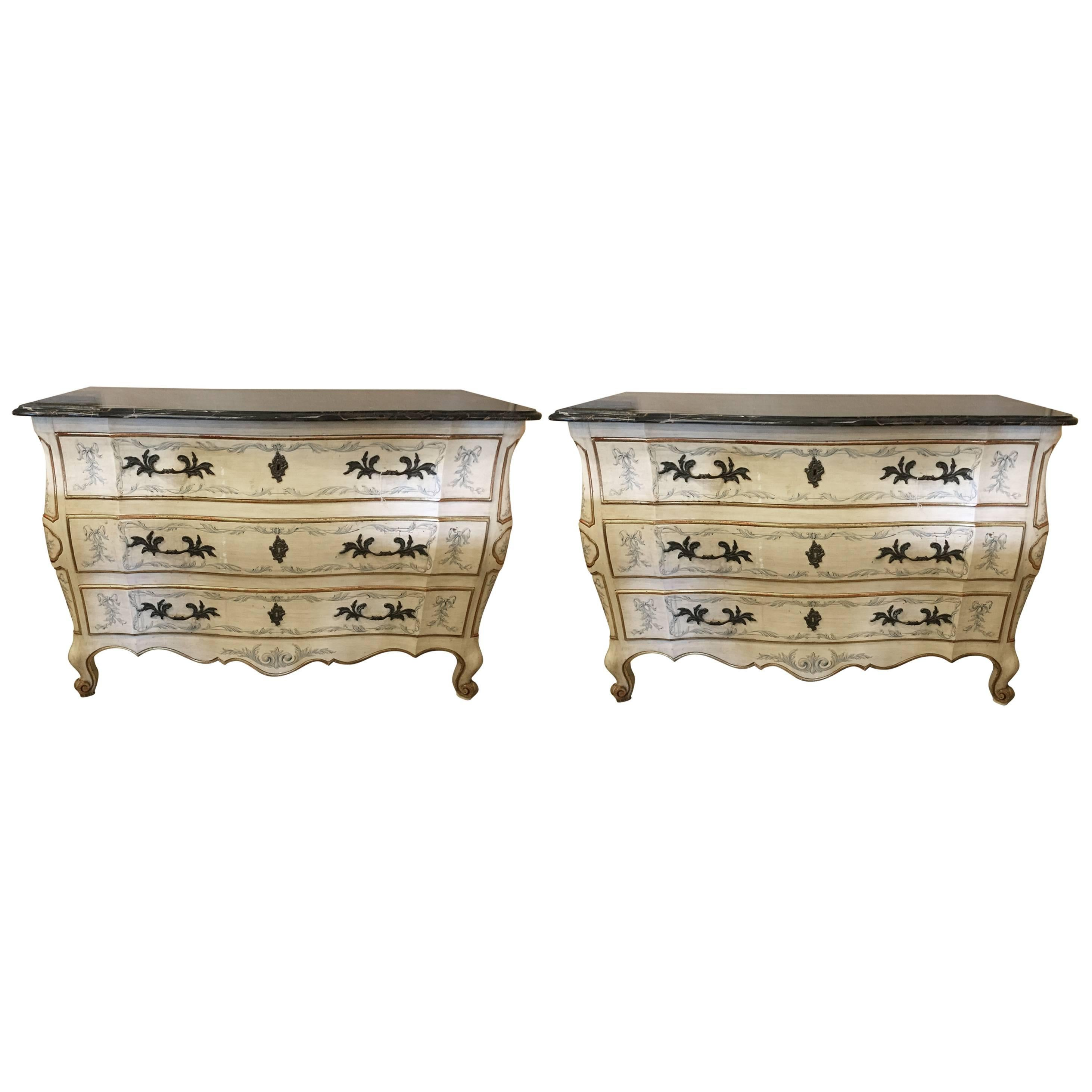 Pair of Painted Bombe Marble-Top Chests or Commodes by John Widdicomb
