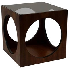 Mid-Century Walnut Geometric Cube Side Table