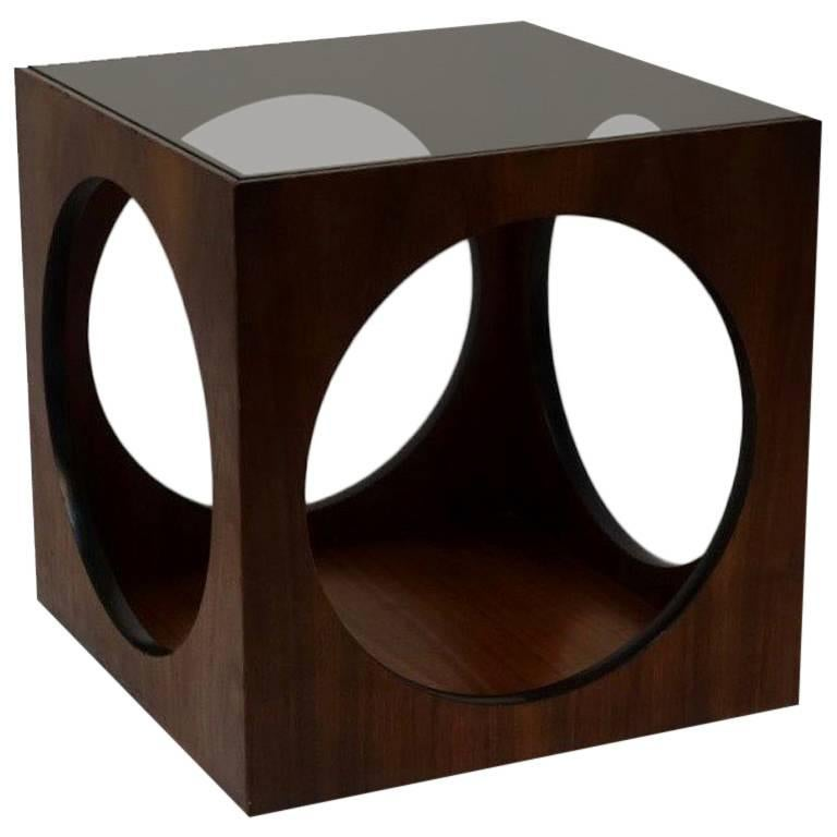 Mid-Century Walnut Geometric Cube Side Table 1
