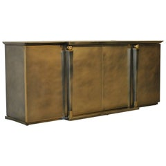 Brushed Steel and Gold Sideboard by Belgo Chrome, 1980s