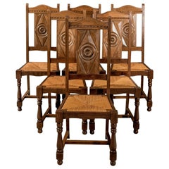 Oak Set of Six Country Dining Kitchen Chairs Rush Seated Edwardian, circa 1910