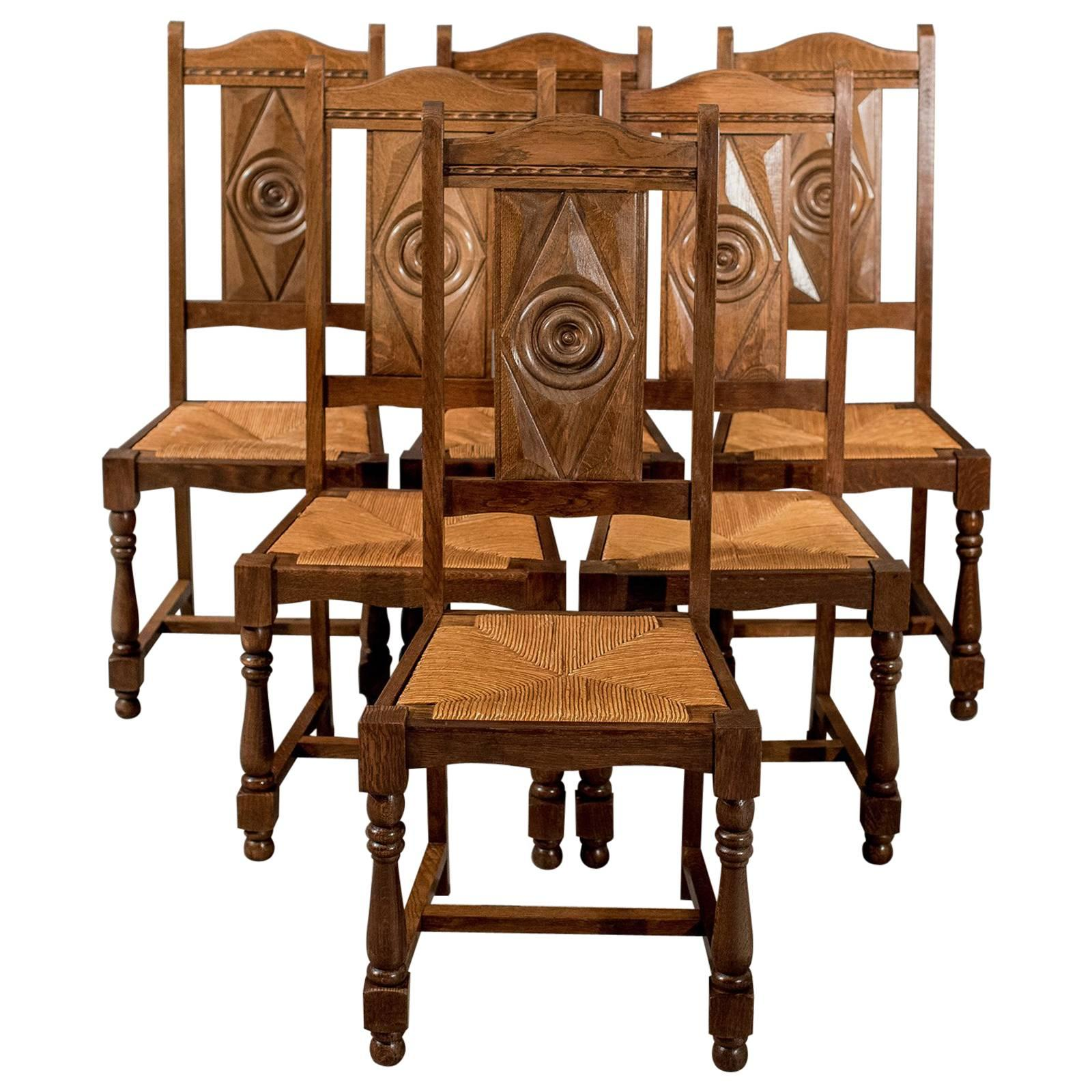 Oak Set Of Six Country Dining Kitchen Chairs Rush Seated Edwardian, Circa  1910 1