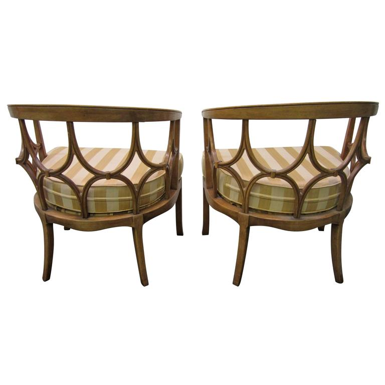 Amazing Pair of Billy Haines Barrel Back Chairs, Regency Modern
