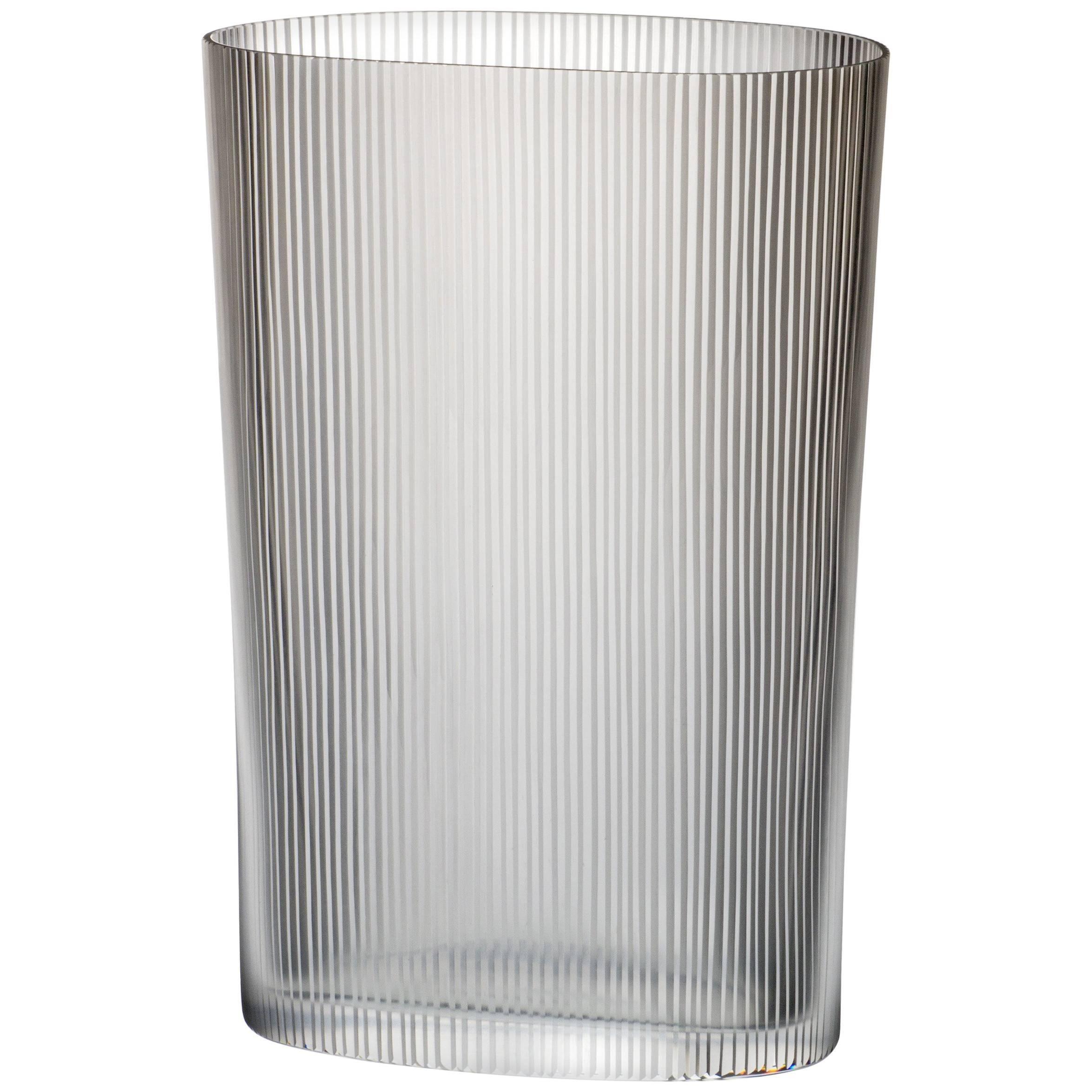Ovale Millemolature Carlo Moretti Murano Contemporary Clear Glass Vase