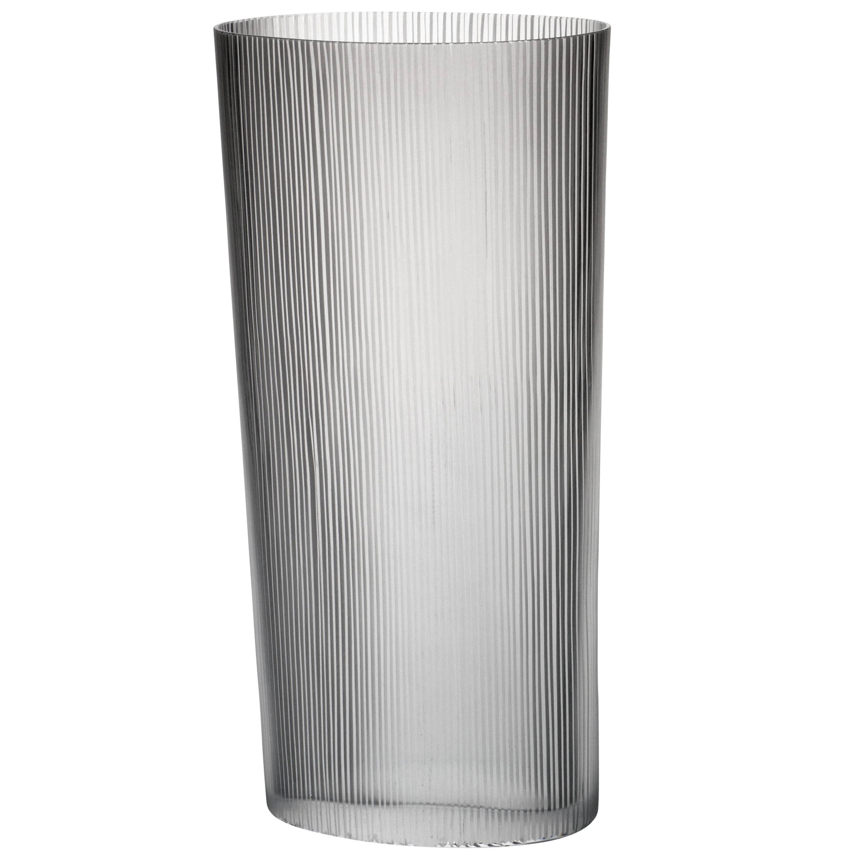 Tall Ovale Millemolature Contemporary Carlo Moretti Murano Clear Glass Vase