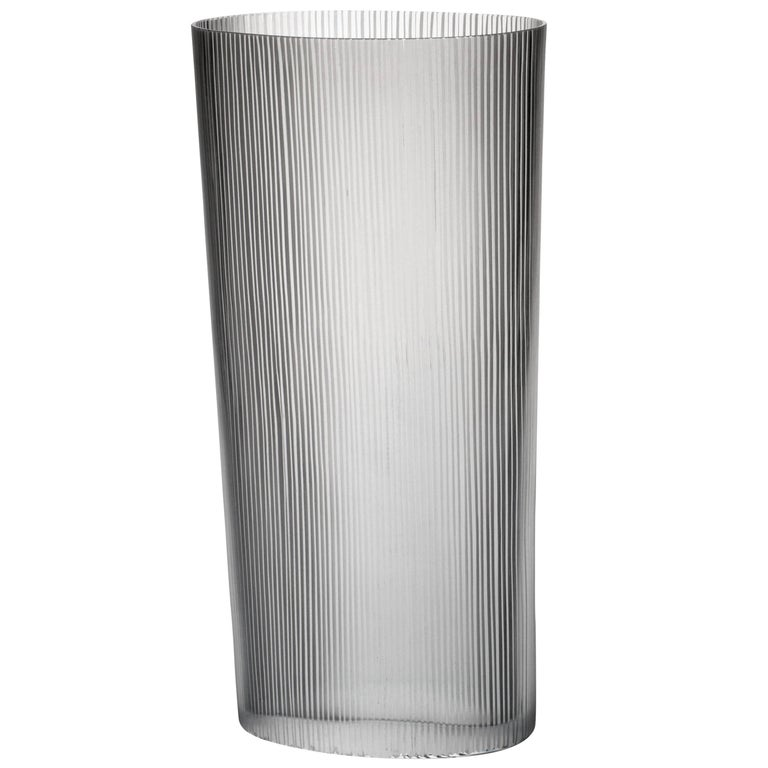 Tall Ovale Millemolature Contemporary Carlo Moretti Murano Clear Glass Vase For Sale